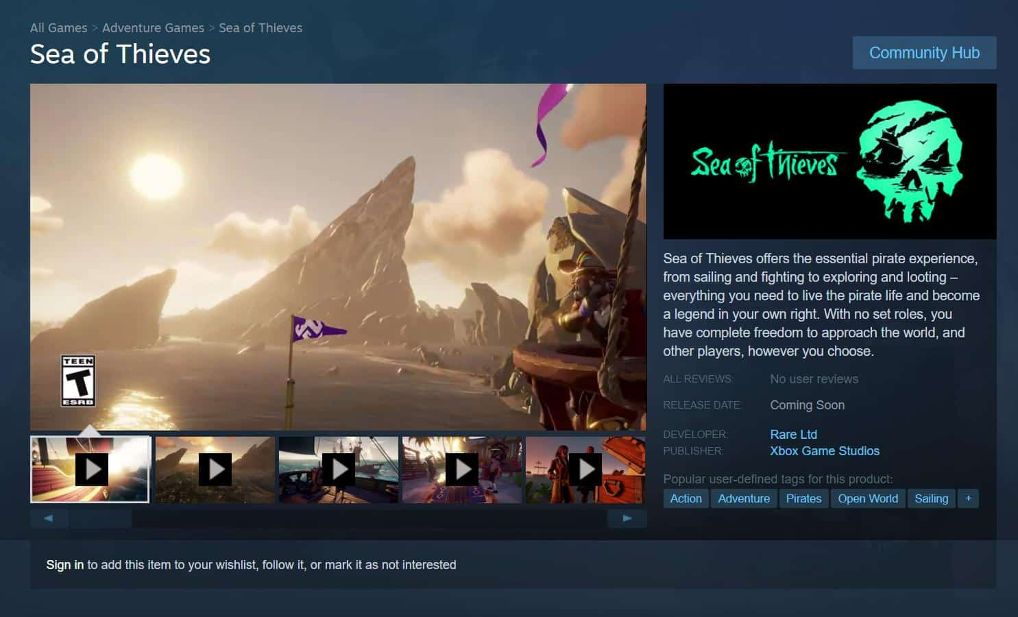 Sea of Thieves Steam Page