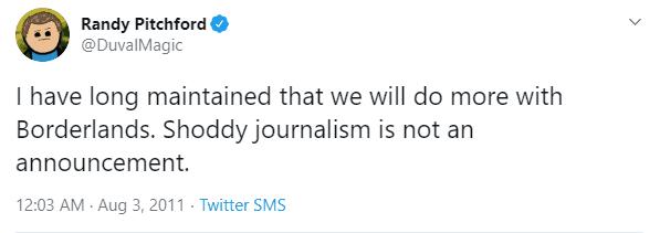 Randy Pitchford tweet