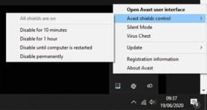 How to disable avast antivirus from system tray step 2
