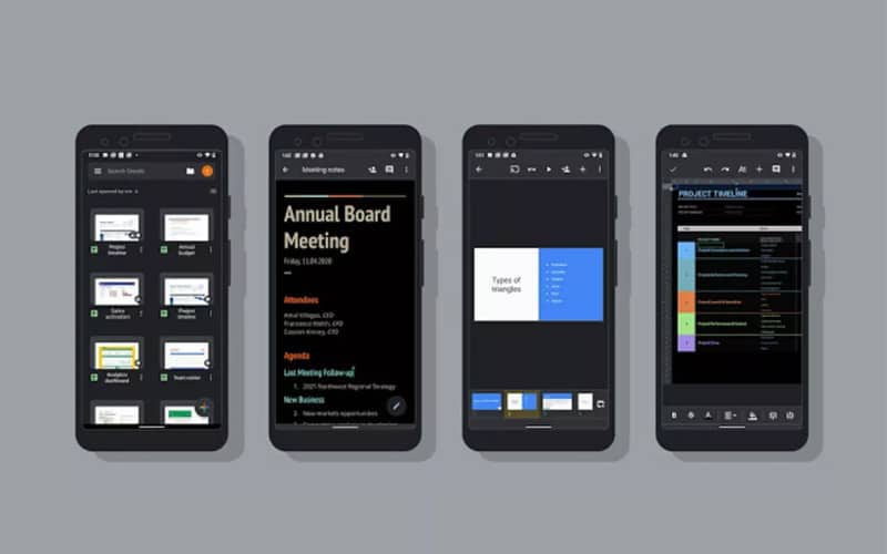 Dark mode goes live for Google Docs, Sheets, and Slides on Android devices