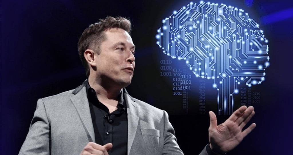 Elon Musk with Graphic of Brain