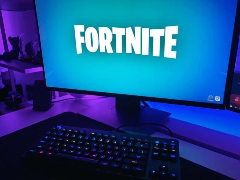 Fortnite Logo on PC Screen