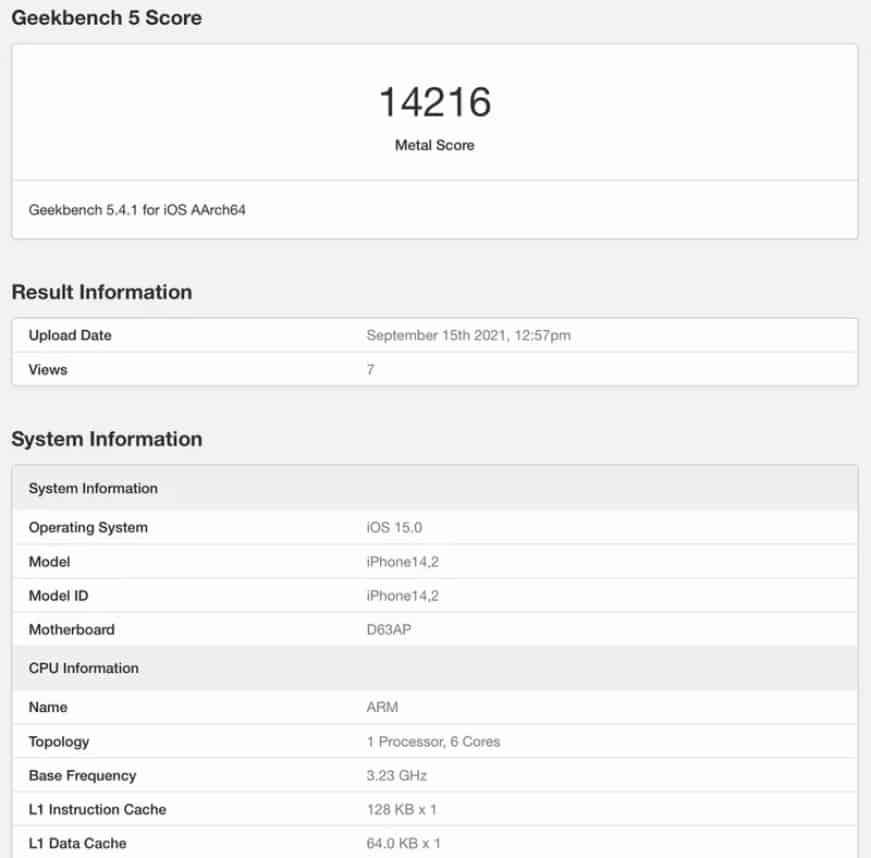 iPhone 13 Pro Geekbench Performance Leaks