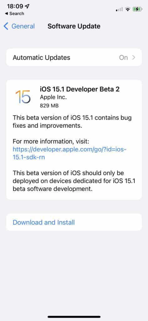 iOS 15.1 Public Beta 2