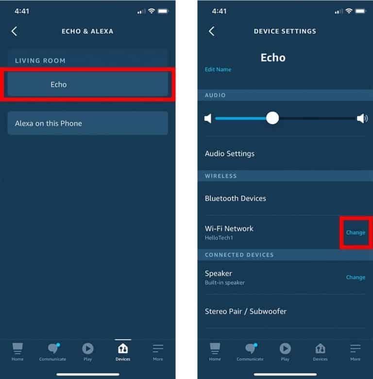 Echo settings in Alexa app