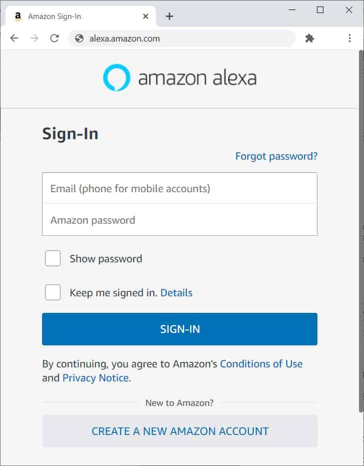 Alexa website login