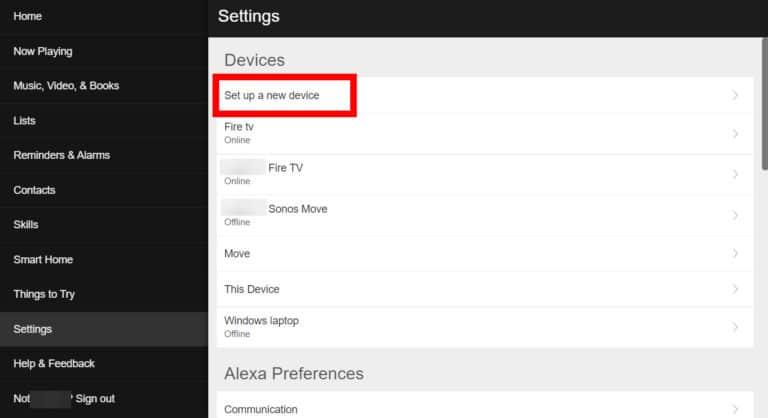 Alexa Site Device Set Up
