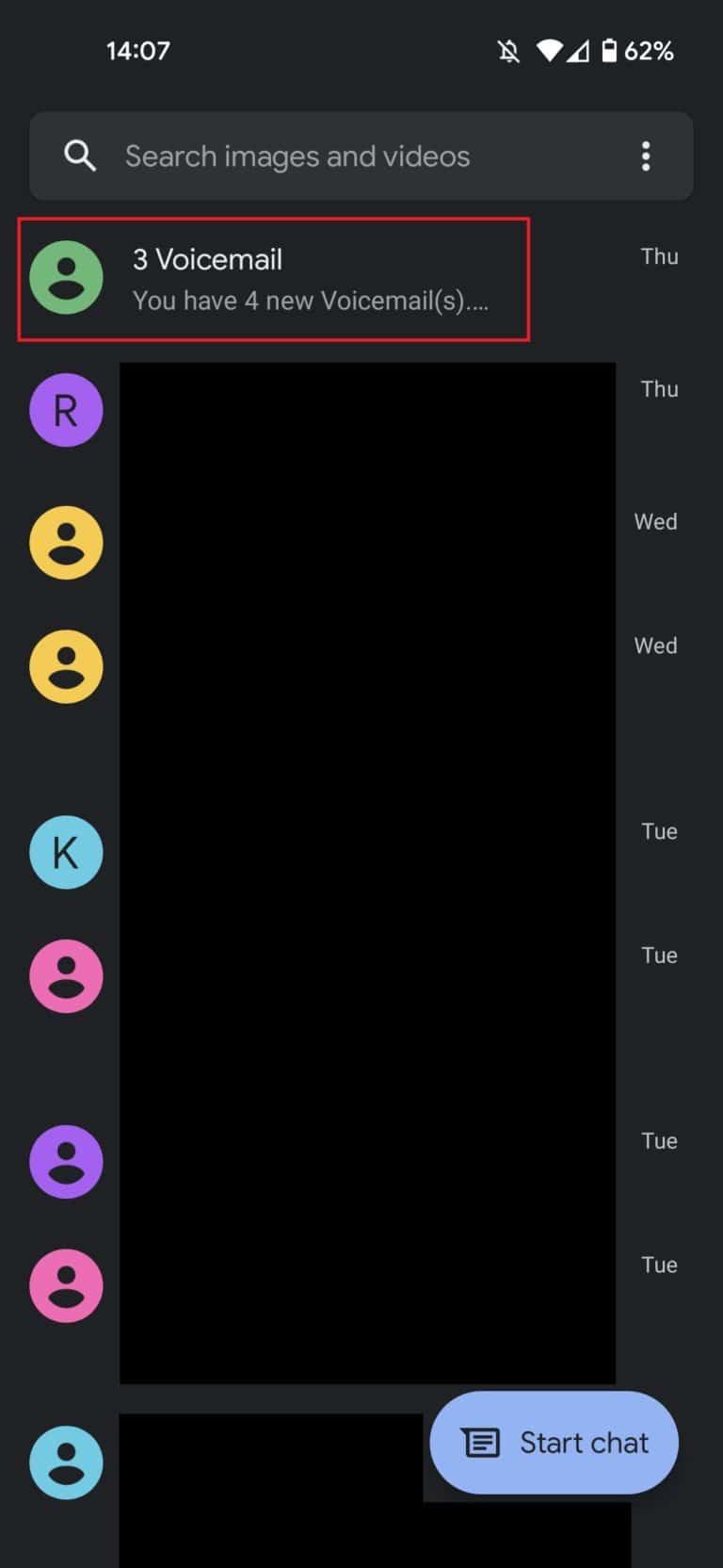 Select text message conversation