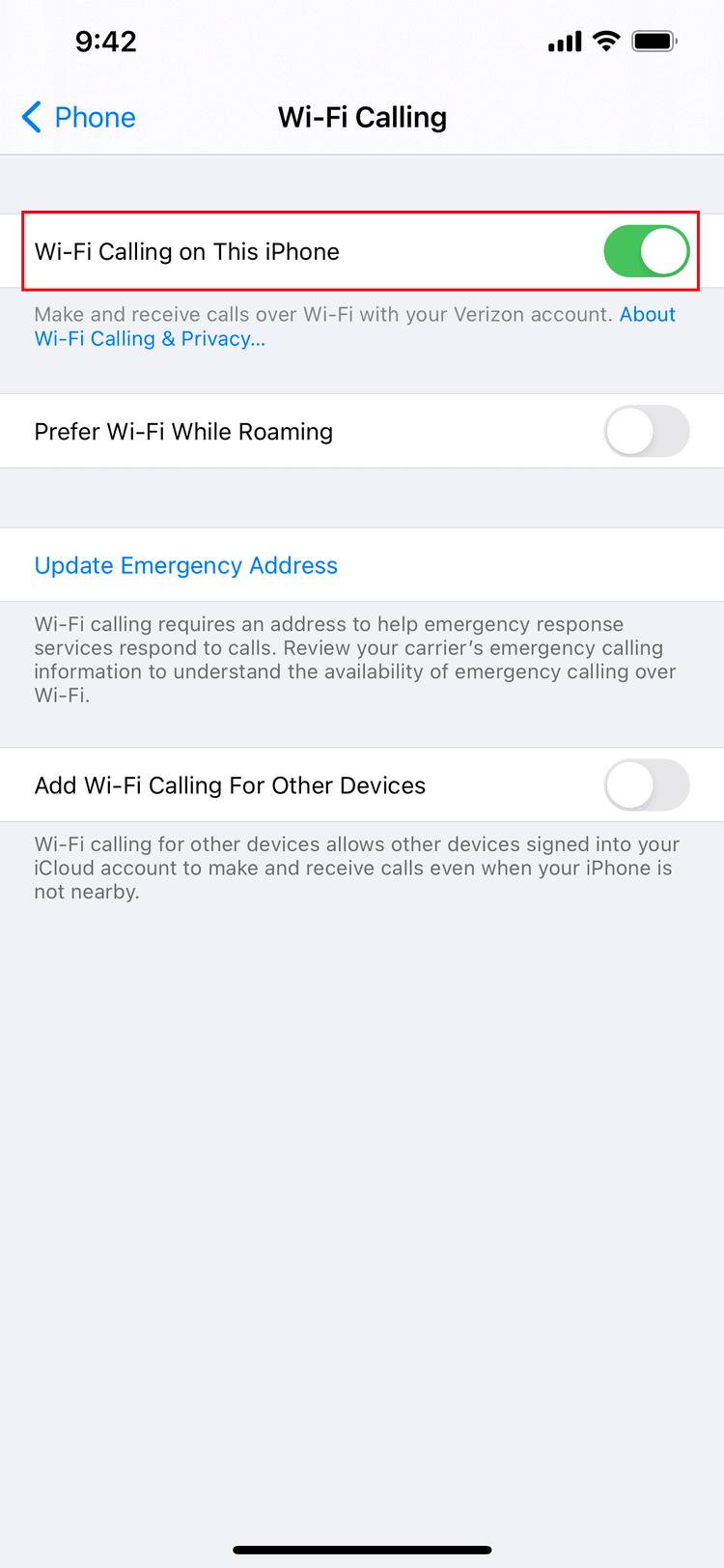 iOS 15 WiFi Calling Enable